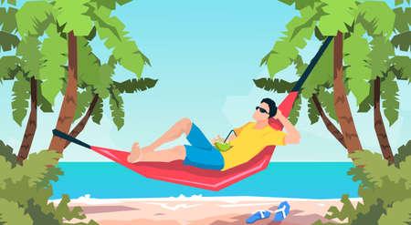 lying in: Man Lying In Hammock Beach Vacation Flat Vector Illustration