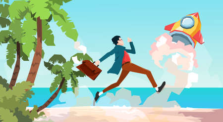 Business Man Run Space Rocket New Idea Startup Concept Tropical Seaside Background Flat Vector Illustration Illusztráció