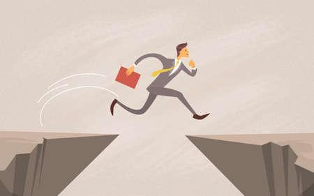 Geschäftsmann Sprung über Klippe Gap Berg Wohnung Vector Illustration
