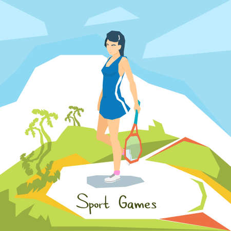 Meisje Tennisser Sport Competition Flat Vector Illustration