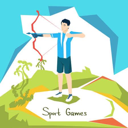 Archer Athlete Sport Competition Flat Vector Illustration