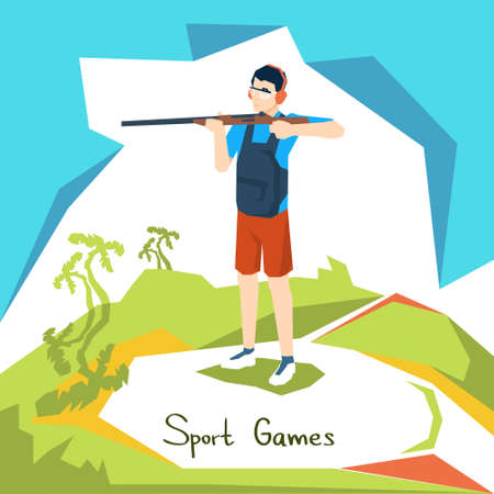 Shooting Athlete Sport Competition Flat Vector Illustration