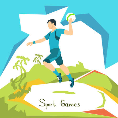 competitions: Volleyball Player Game Match Sport Competition Flat Vector Illustration