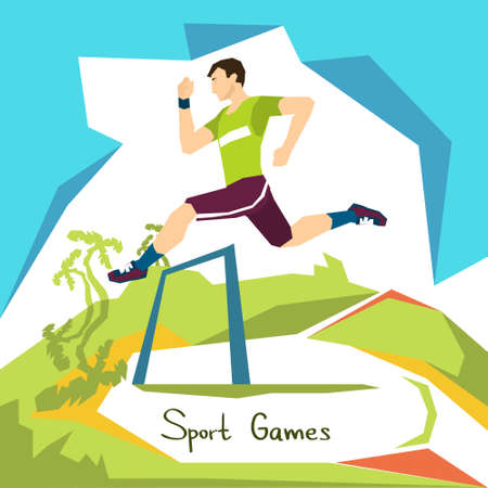 janeiro: Hurdle Race Running Athlete Sport Competition Flat Vector Illustration