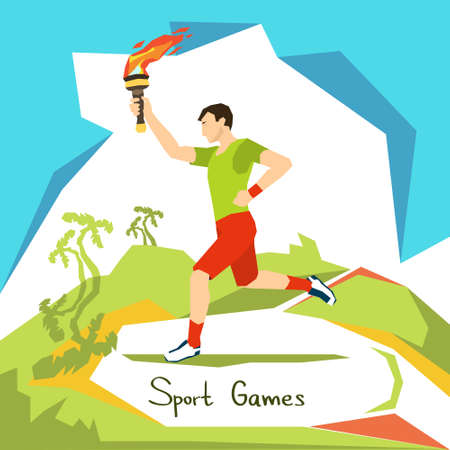 racecourse: Runner With Fire Torch Sport Competition Start Flat Vector Illustration
