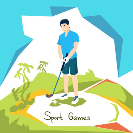 golf player: Golf Player Sport Competition Flat Vector Illustration