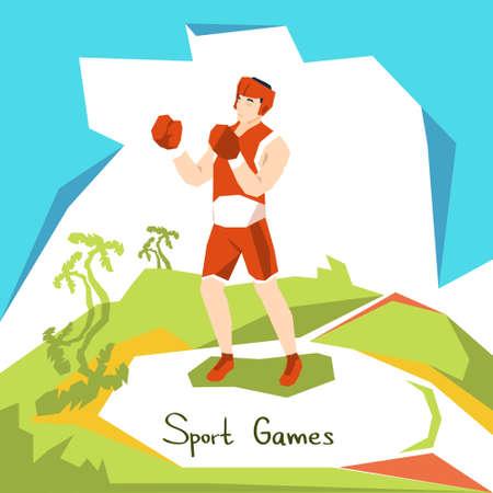 Box Athlete Boxer Sport Competition Flat Vector Illustration