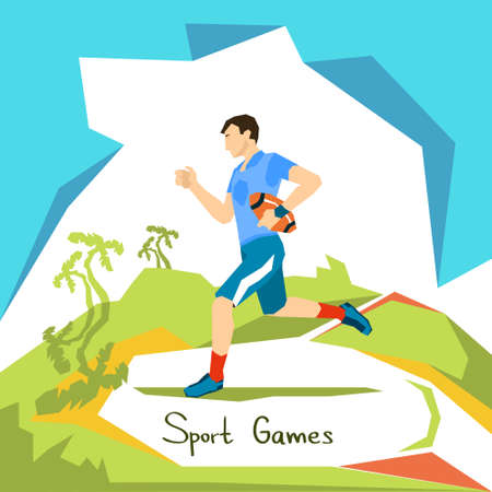 Rugby Game Player Sport Competition Flat Vector Illustration Illustration