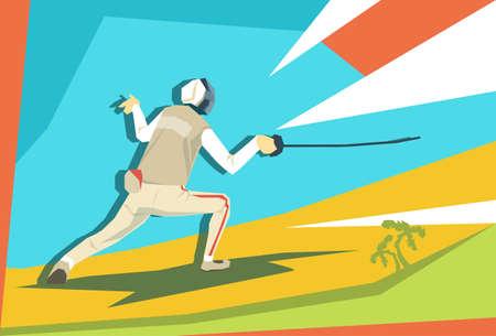 esgrimista: Ilustración Deporte de la competición de esgrima Atleta Esgrimidor plana vectorial