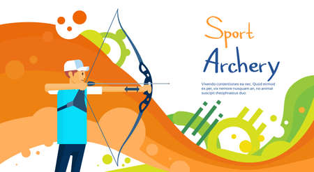 bowman: Archer Athlete Sport Competition Colorful Banner Flat Vector Illustration Illustration
