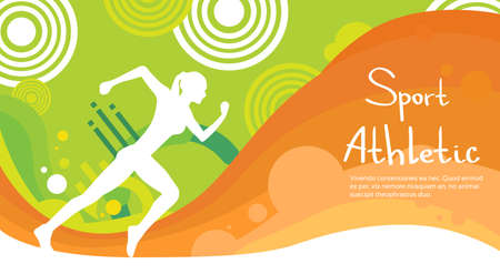 Runner Athlete Sprint Sport Competition Colorful Banner Flat Vector Illustration