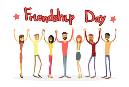mixed race girl: Young People Group Holding Hands Friendship Day Banner Flat Vector Illustration