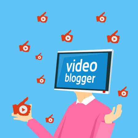subscriber: Video Blogger Computer Monitor Head Flat Vector Illustration
