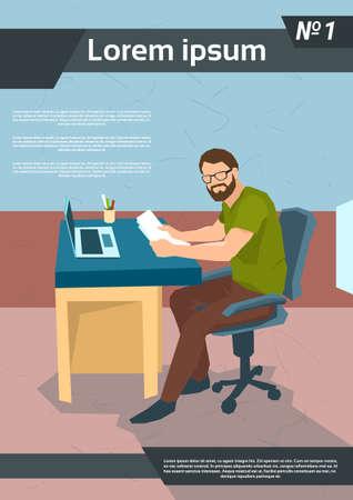 freelancer: Casual Business Man Freelancer Working Laptop Workplace Flat Vector Illustration