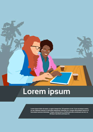 using tablet: Two Woman Using Tablet Sit In Cafe Flat Vector Illustration Illustration