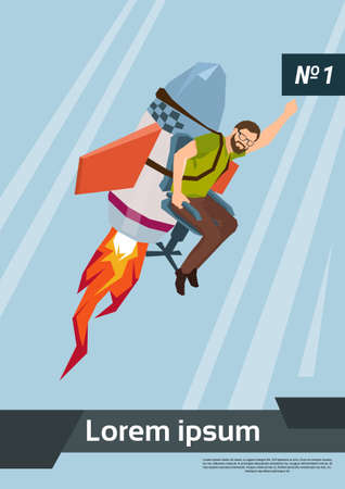 fly up: Rocket Fly With Casual Business Man Start Up Success Concept Flat Vector Illustration