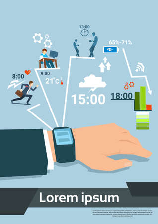 daily routine: Business Man Hand With Smart Watch Daily Routine Set Flat Vector Illustration Illustration