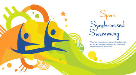 synchronized: Synchronized Swimming Athlete Sport Competition Colorful Banner Flat Vector Illustration