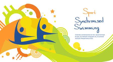 Synchroonzwemmen Atleet Sport Competition Kleurrijke banner Flat Vector Illustration Stock Illustratie
