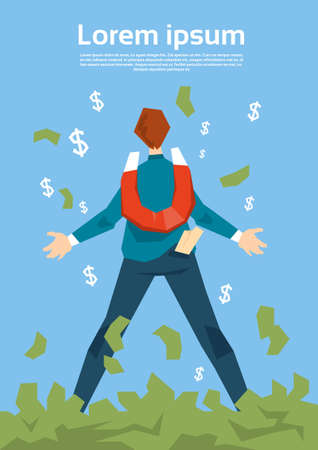 pulling money: Rich Successful Business Man With Magnet Pulling Money Flat Vector Illustration