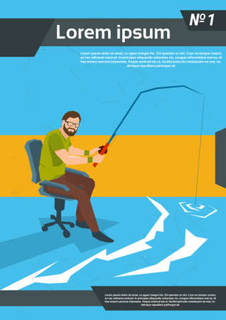 Casual Business Man Fishing Sit Office Chair Flat Vector Illustration