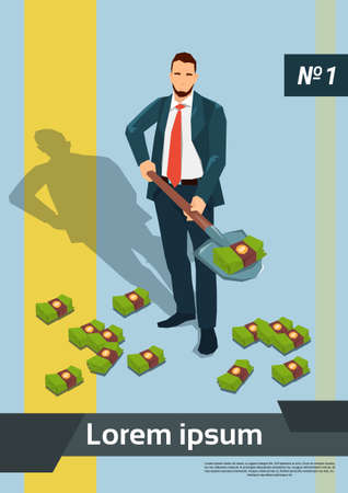 digging: Rich Business Man Digging Money With Shovel Flat Vector Illustration