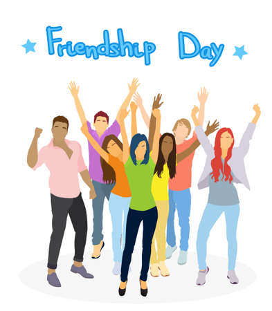 mixed race girl: Young People Group Holding Hands Up Friendship Day Banner Flat Vector Illustration