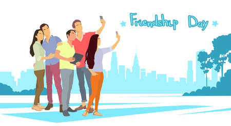 Silhouette People Group Make Selfie Photo Over City Background Friendship Day Banner Flat Vector Illustration