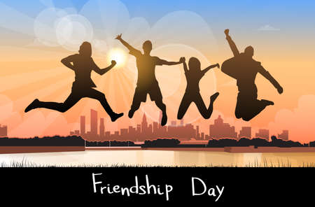 group jumping: Silhouette People Group Jumping Over City Background Friendship Day Banner Flat Vector Illustration