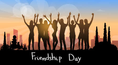 Silhouette People Group Holding Hands Up Over City Background Friendship Day Banner Flat Vector Illustration