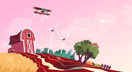planos electricos: Granero de la granja Edificio Campo Con la turbina de viento ilustración vectorial Flat
