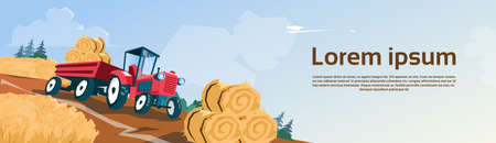 harvest field: Tractor Straw Bale Wheat Harvest Field Banner With Copy Space Flat Vector Illustration