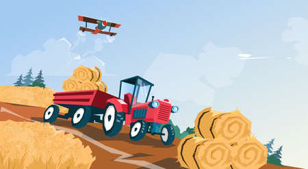 bale: Tractor Straw Bale Wheat Harvest Field Vector Illustration