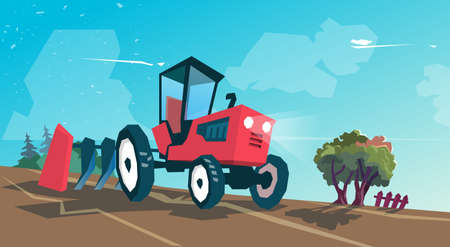 plowing: Tractor Plowing Field Farming Cartoon Vector Illustration
