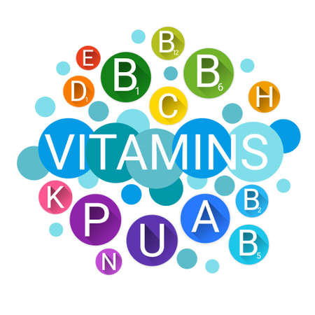 ascorbic acid: Essential Chemical Elements Nutrient Minerals Vitamins Flat Vector Illustration