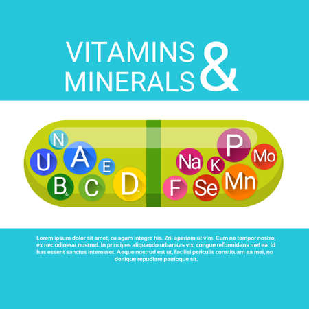 ascorbic: Capsule With Vitamins Nutrient Minerals Colorful Banner Healthy Life Nutrition Chemistry Element Concept Flat Vector Illustration