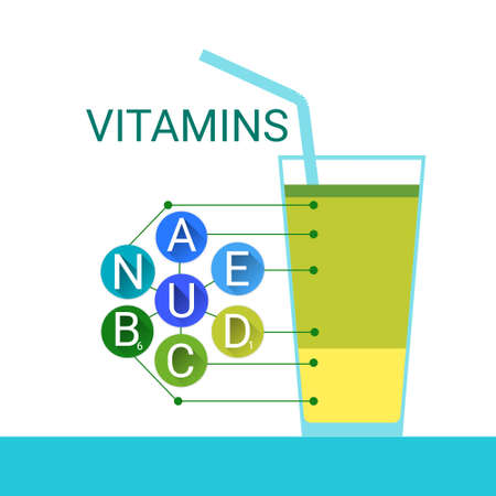 nutrient: Vitamins Cocktail Glass Essential Chemical Elements Nutrient Minerals Flat Vector Illustration
