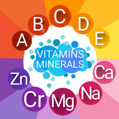 nutrient: Essential Chemical Elements Nutrient Minerals Vitamins Flat Vector Illustration