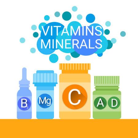 nutrientes: Botella De Ilustración químicos esenciales elementos nutrientes minerales Vitaminas plana vectorial