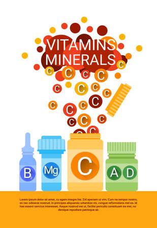 ascorbic: Bottle Of Essential Chemical Elements Nutrient Minerals Vitamins Flat Vector Illustration Illustration