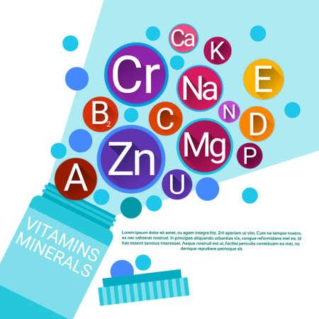 ascorbic acid: Bottle Of Essential Chemical Elements Nutrient Minerals Vitamins Flat Vector Illustration Illustration