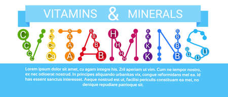 ascorbic: Essential Chemical Elements Nutrient Minerals Vitamins Flat Vector Illustration