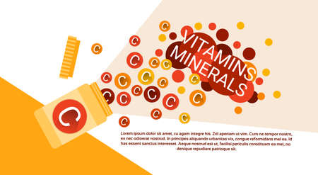 ascorbic: Bottle Of Essential Chemical Elements Nutrient Minerals Vitamins Flat Vector Illustration Illustration