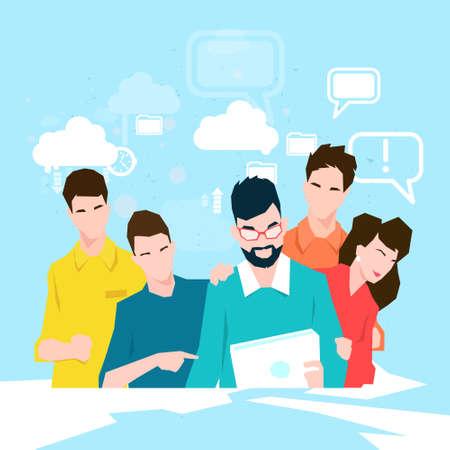 Equipo de gente de negocios trabajando con la ilustración de Vector plano de tableta