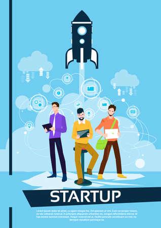 Business People Group Working Teamwork Startup Concept Flat Vector Illustration