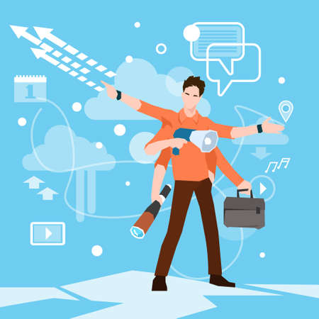 many hands: Busy Multitasking Manager Business Man With Many Hands Flat Vector Illustration