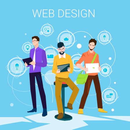 Web Designer Business People Team Working Flat Vector Illustration Illustration