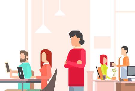 gente comunicandose: Ilustración Las personas que trabajan Coworking Centro de Open Office espacio plano vectorial