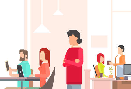 People Working Coworking Center Open Office Space Flat Vector Illustration