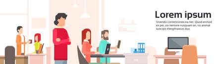 センターをコワーキングを働く人々 を開くオフィス スペース バナー フラット ベクトル図